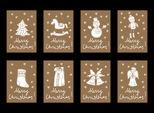 Vector Vintage Christmas and New Year cardboard tag labels Royalty Free Stock Photography