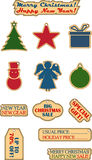 Vector vintage Christmas and New Year sale labels. royalty free illustration