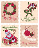 Vector Vintage Christmas Stamps Mistletoe Wreath Stock Images