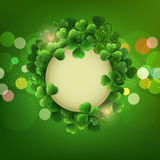 Vector Vintage circle with space for text in a frame of shamrock Royalty Free Stock Images