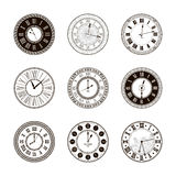 Vector vintage clock dials set Stock Photo