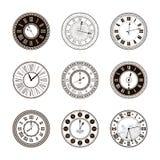 Vector vintage clock dials set royalty free illustration