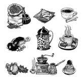 Vector vintage coffee set. Royalty Free Stock Photo