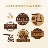 Vector vintage coffee shop emblem, logo design set isolated. Royalty Free Stock Photography