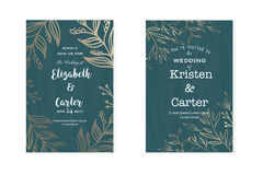 Vector vintage collection. Set of old vintage weddind invitation Stock Photos
