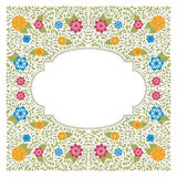 Vector vintage colorful floral frame in flat style Stock Images