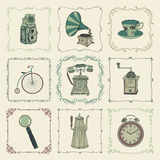 Vector Vintage Colorful Icons, Objects and Frames Royalty Free Stock Images