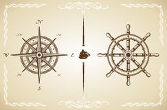 Vector Vintage Compass and Rudder Stock Images