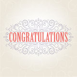 Vector vintage Congratulations card Stock Images