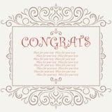 Vector vintage Congratulations card Stock Image