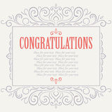 Vector vintage Congratulations card Royalty Free Stock Image