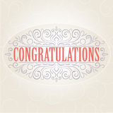 Vector vintage Congratulations card Royalty Free Stock Images