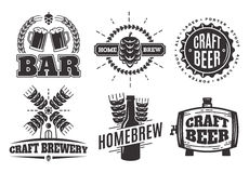 Vector vintage craft beer logos. bar labels and emblems Stock Images