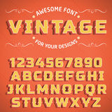 Vector Vintage 3D Font with shadow. Retro Alphabet with decorative elements royalty free illustration