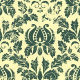 Vector vintage damask seamless pattern element. Royalty Free Stock Photo