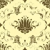 Vector vintage damask seamless pattern element. Royalty Free Stock Images