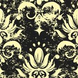 Vector vintage damask seamless pattern element. Grunge print style Royalty Free Stock Photography