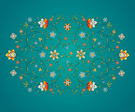 Vector vintage decor in Eastern style. Vector element, arabesque for design template. Luxury ornament in Eastern style. Turquoise floral illustration. Ornate vector illustration