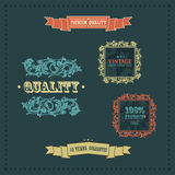 Vector vintage decor elements. frames ribbons. Vector vintage ornate decor elements. frames ornaments ribbons stars Royalty Free Stock Image