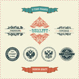 Vector vintage decor elements ribbon stamps Stock Photos