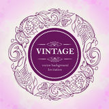 Vector vintage decor.Floral pattern in a circle.Blank for decorating invitations, greeting cards, cards. Stock Image