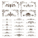 Vector vintage design elements borders frames ornaments corners. NBlack and white vintage clipart on white background Royalty Free Stock Photo