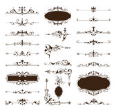 Vector vintage design elements borders frames ornaments corners. NBlack and white vintage clipart on white background Royalty Free Stock Photography
