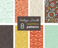 Vector Vintage Doodle Repeat Seamless Patterns 8 Set With Various Hand Drawn Textures. In Matching Prints. Perfect for scrapbooking, wallpaper, bedding Stock Image