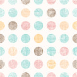 Vector Vintage Dots Circles Seamless Pattern Background With Fabric Texture. Perfect for nursery, birthday, circus or Royalty Free Stock Photos