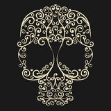 Vector vintage drawing skull with curls and hearts. Vector drawing lacy skull with curls and hearts on grey background Royalty Free Stock Image