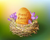 Vector vintage Easter egg in a wicker nest Stock Photos