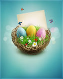 Vector vintage Easter eggs in a wicker nest, green grass. And rectangular greeting card on a blue background Stock Photos