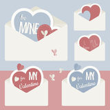 Vector vintage envelope with red and blue paper heart inside. Valentine's Day Stock Photo