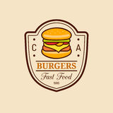 Vector vintage fast food logo. Burge sign. Bistro icon. Eatery emblem for street restaurant, cafe, bar menu design. Vector vintage fast food logo. Retro hand Stock Image