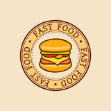 Vector vintage fast food logo. Burge sign. Bistro icon. Eatery emblem for street restaurant, cafe, bar menu design. Stock Photo