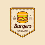 Vector vintage fast food logo. Burge sign. Bistro icon. Eatery emblem for street restaurant, cafe, bar menu design. Vector vintage fast food logo. Retro hand Royalty Free Stock Photo