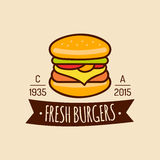 Vector vintage fast food logo. Burge sign. Bistro icon. Eatery emblem for street restaurant, cafe, bar menu design. Vector vintage fast food logo. Retro hand Stock Photos