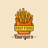 Vector vintage fast food logo. Retro fry potatoes sign. Bistro icon. Eatery emblem for street restaurant, cafe etc. Vector vintage fast food logo. Retro hand Royalty Free Stock Images