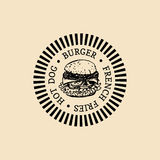 Vector vintage fast food logo. Retro hand drawn burger label. Hipster sandwich sign. Bistro icon. Street eatery emblem. Royalty Free Stock Photo