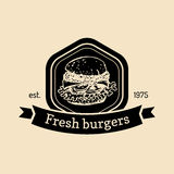 Vector vintage fast food logo. Retro hand drawn fresh burger label. Hipster sandwich sign. Bistro, street eatery emblem. Stock Images