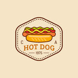 Vector vintage fast food logo. Retro hand drawn hot dog sign. Bistro icon. Used for street restaurant, cafe, bar menu. Stock Photo
