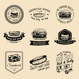Vector vintage fast food logo set. Retro quick meal signs collection. Bistro, snack bar, street restaurant, diner icons. Royalty Free Stock Image