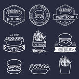 Vector vintage fast food logos set. Retro eating signs collection. Bistro, snack bar, street restaurant icons. Vector vintage fast food logos set. Retro eating Stock Images
