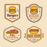 Vector vintage fast food logos set. Retro eating signs collection. Bistro, snack bar, street restaurant icons. Stock Photos