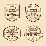 Vector vintage fast food logos set. Retro eating signs collection. Bistro, snack bar, street restaurant icons. Royalty Free Stock Image