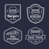 Vector vintage fast food logos set. Retro eating signs collection. Bistro, snack bar, street restaurant icons. Vector vintage fast food logos set. Retro eating Royalty Free Stock Image