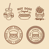 Vector vintage fast food logos set. Retro eating signs collection. Bistro, snack bar, street restaurant icons. Royalty Free Stock Photo