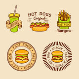 Vector vintage fast food logos set. Retro eating signs collection. Bistro, snack bar, street restaurant icons. Stock Images