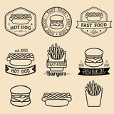 Vector vintage fast food logos set. Retro eating signs collection. Bistro, snack bar, street restaurant icons. Vector vintage fast food logos set. Retro eating Royalty Free Stock Photography