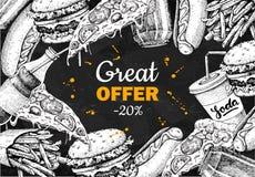 Vector vintage fast food special offer. Hand drawn junk food fra Stock Images